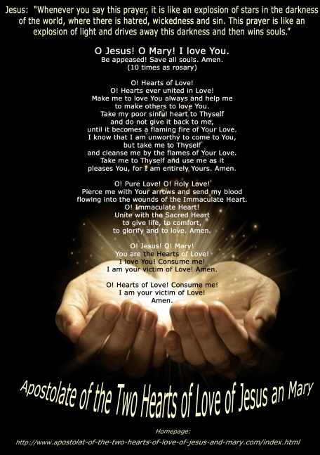 The prayer of the Two Hearts a present from God given to a little boy
